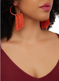 Threaded Tassel Hoop Earrings - 1135074373540