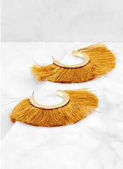 Open Hoop Fringe Earrings - 1135074373541