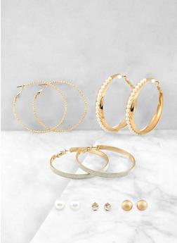Faux Pearl Stud and Hoop Earrings Set - 1135074374161