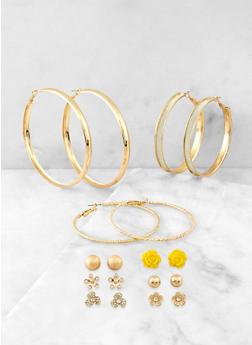 Set of 9 Flower Stud and Hoop Earrings - 1135074374763