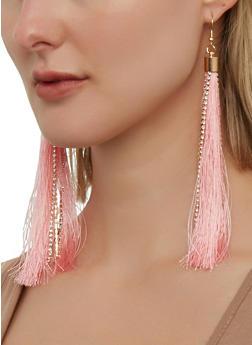 Rhinestone Tassel Fish Hook Earrings - 1135074752877
