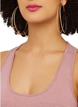 Rhinestone Stud and Metallic Hoop Earrings - 1135074974018