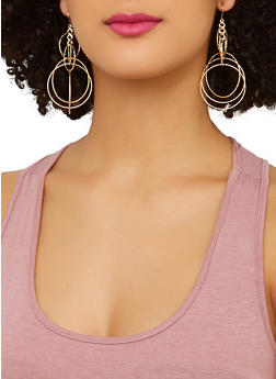 Circle Faux Pearl Drop and Stud Earrings Set - 1135074974041