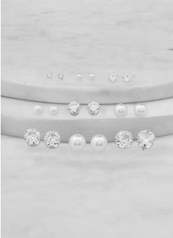 Set of 9 Faux Pearl and Rhinestone Stud Earrings - 1135074974162