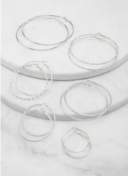 Set of 6 Variegated Hoop Earrings - 1135074974179