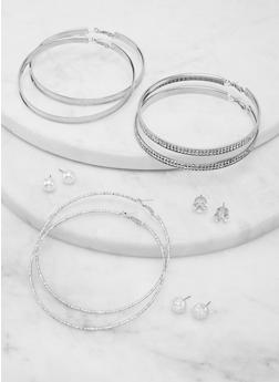 Set of 6 Assorted Faux Pearl Stud and Hoop Earrings - 1135074974182