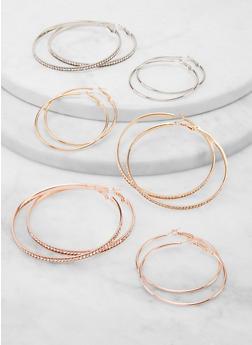 Set of 6 Variegated Rhinestone Hoop Earrings - 1135074974183