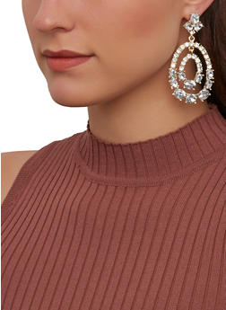 Rhinestone Oval Drop Earrings - 1135074974190