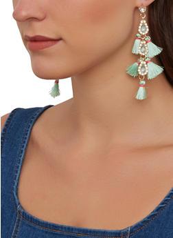 Rhinestone Teardrop Tassel Earrings - 1135074974193