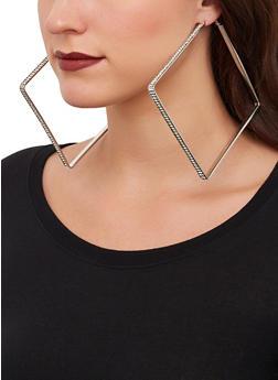Rhinestone Square Hoop Earrings - 1135074974205