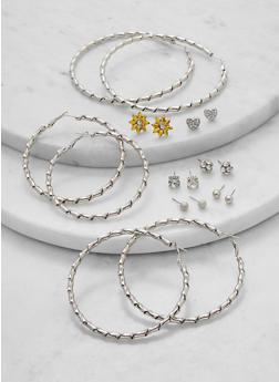 Set of 9 Assorted Flower Stud and Hoop Earrings - 1135074974208