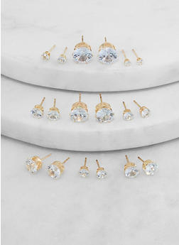 Assorted Round Cubic Zirconia Stud Earrings - 1135074974818