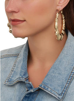 Metallic Bamboo Hoop Earrings - 1135074980931