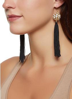 Rhinestone Ball Tassel Drop Earrings - 1135074981763