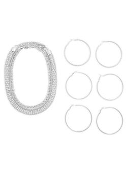 Set of 3 Necklaces and Hoop Earrings - 1138003201031