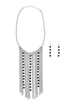 Beaded Chain Fringe Necklace and Earrings Set - 1138003201070