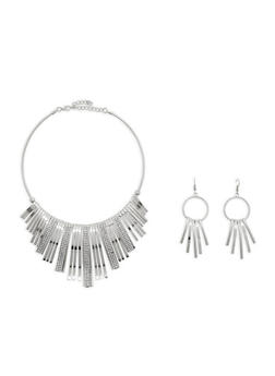 Curved Stick Rhinestone Collar Necklace with Earrings - 1138003201344