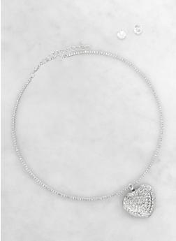Heart Charm Rhinestone Choker and Stud Earrings Set - 1138003201701