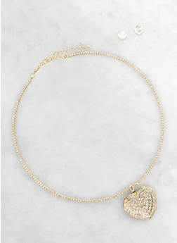 Heart Charm Rhinestone Choker and Stud Earrings Set - 1138003201701