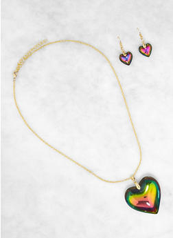 Rainbow Heart and Earrings Set - 1138003201705