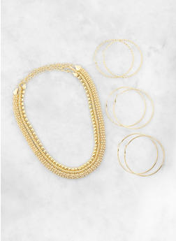 Set of 3 Hoop Earrings and Chokers - 1138003203134