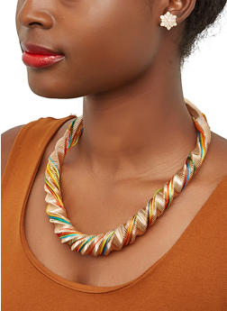 Thread Coil Necklace with Stud Earrings - 1138003207114