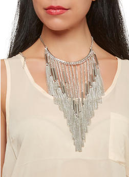 Metallic Chain Fringe Necklace and Earrings Set - 1138003208004
