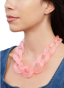 Large Resin Chain Link Necklace - 1138003209199