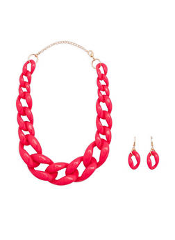 Plastic Curb Chain Necklace with Matching Earrings - 1138018432201