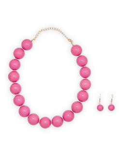 Large Beaded Necklace and Earrings - 1138018434153