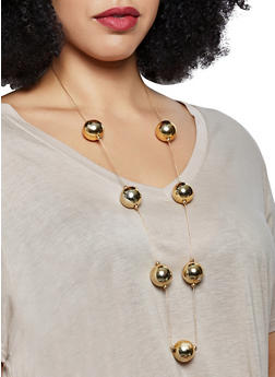 Long Metallic Ball Necklace and Drop Earrings - 1138018434405