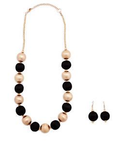 Thread Wrapped Bead Necklace with Earrings - 1138018438105