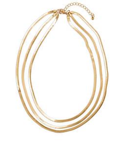 Metallic Layered Flat Chain Necklace - 1138029360637