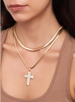 Layered Snake Chain Cross Necklace - 1138029361058