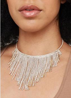 Rhinestone Fringe Collar Necklace and Stud Earrings Set - 1138029361109