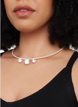 Skinny Rhinestone Collar Necklace and Stud Earrings Set - 1138029361110