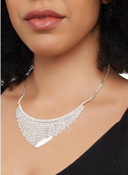 Rhinestone Fringe Collar Necklace - 1138029361111