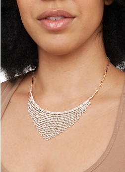 Rhinestone Fringe Collar Necklace - 1138029361111