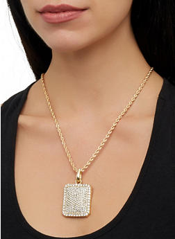 Rhinestone Square Pendant Necklace and Stud Earrings - 1138029364013