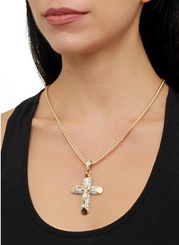 Rhinestone Crucifix Necklace and Stud Earrings - 1138029364102