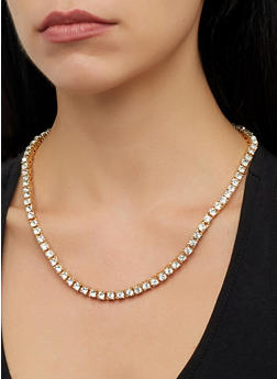 Thick Rhinestone Necklace and Stud Earrings - 1138029365555