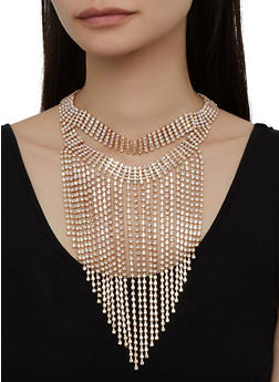 Rhinestone Fringe Layered Necklace with Stud Earrings - 1138029367082