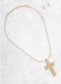 Cross Pendant Necklace with Stud Earrings - 1138035151330