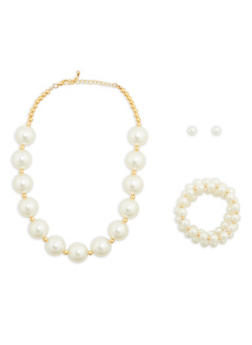 Faux Pearl Necklace with Bracelets and Earrings - 1138035151639