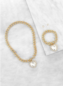 Heart Curb Chain Necklace with Bracelet and Earrings - 1138035151710