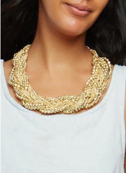 Braided Beaded Necklace and Earrings - 1138035152276