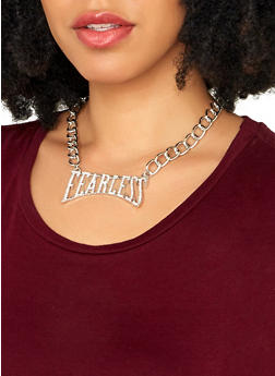Fearless Rhinestone Necklace with Stud Earrings - 1138035152309