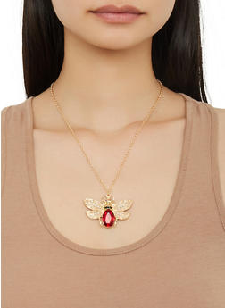 Jeweled Beetle Necklace with Stud Earrings - 1138035153534