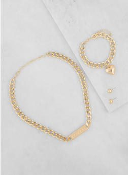 Metallic Curb Chain Necklace with Bracelet and Stud Earrings - 1138035153547