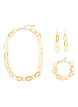 Flat Metallic Chain Link Necklace with Bracelet and Earrings - 1138035153552